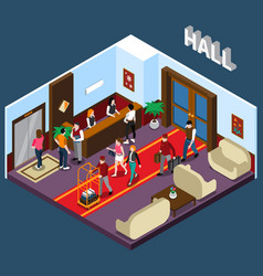Hotel hall isometric vector