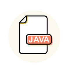 Java file format extension color line icon vector