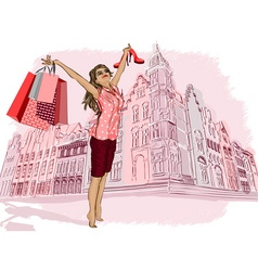 Lady Having a Ball On Holiday Shopping vector