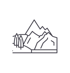 mountains line icon concept mountains vector image