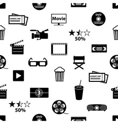 movie and cinema icons seamless pattern eps10 vector image