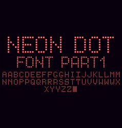 neon dot font in red part 1 vector image