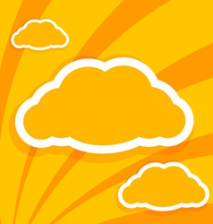 Orange paper on the background of clouds vector image
