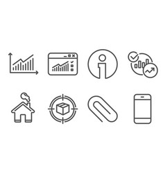 Paper clip parcel tracking and statistics icons vector