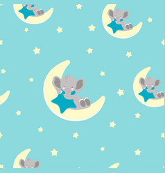 pattern with elephant and moon vector image