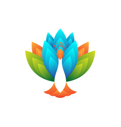 peacock colorful gradient logo template vector image