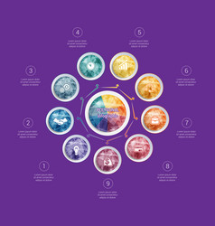 polygonal infographics for designs on 9 positions vector image