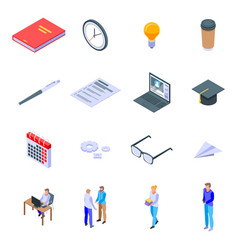 Preparation for exams icons set isometric style vector