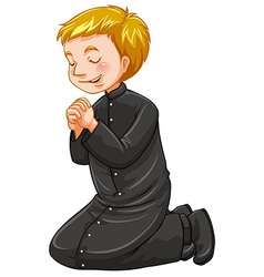 Priest on his knees praying vector image