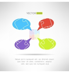 Puzzle chat comunication template for infographics vector image