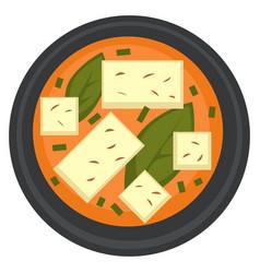 Ramen or vegetarian soup with tofu asian cuisine vector