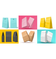 realistic snack bag blank paper white brown and vector image