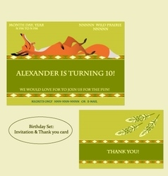 Red fox Birthday Invitation Boho style vector image