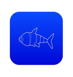 Robot fish icon blue vector