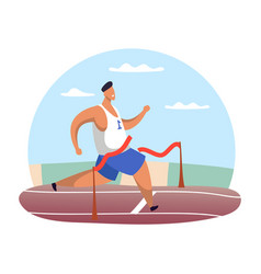 running man at finish line or male at red ribbon vector image