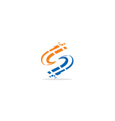 s initial circle technology logo vector image