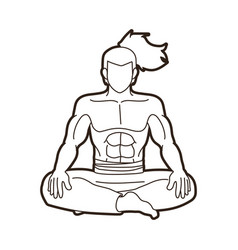 samurai warrior sitting cartoon graphic vector image