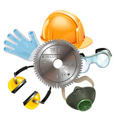 Saw protective equipment vector
