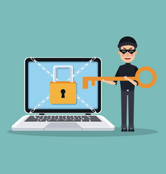 Scene color laptop with padlock and chains crossed vector