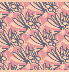 Scribble flower seamless pattern hand drawn vector