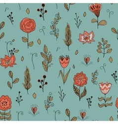 seamless floral pattern with garden flowers vector image