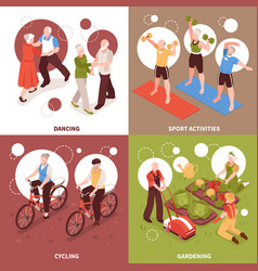 Senior people concept icons set vector