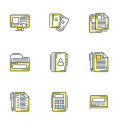 set 9 flat line business icons flat line vector image