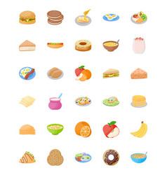 set of breakfast flat icons vector image