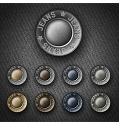 Set of Colorful metal button with inscription vector