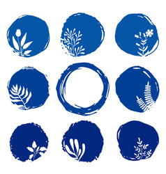 set of floral ink blue watercolor icons vector image