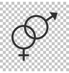Sex symbol sign Dark gray icon on transparent vector