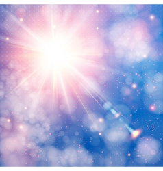 Shining sun with lens flare Soft background with vector