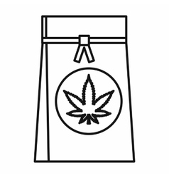Shop bag with marijuana leaf icon outline style vector
