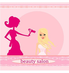 Stylist drying woman hair in hairdresser salon vector