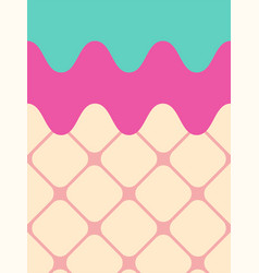 Sweet ice cream pink and blue background vector