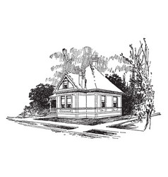 the american small one bedroom bungalow vintage vector image