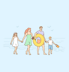 traveling enjoying vacations with family concept vector image