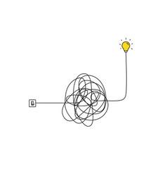 Very hard thinking inspiration idea through a vector
