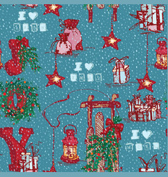 vintage seamless merry christmas pattern in hand vector image