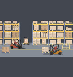 Warehouse scene storehouse and forklifts vector