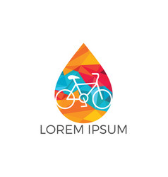 water drop and bicycle logo design vector image