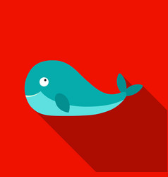 Whale icon flat singe animal icon from the big vector