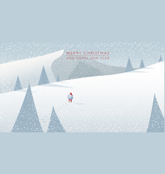 Winter mountain landscape scenery walking santa vector