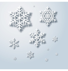 Winter snowflakes background snowflake with shadow vector image vector image