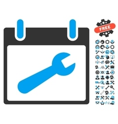 Wrench Tool Calendar Day Icon With Bonus vector image