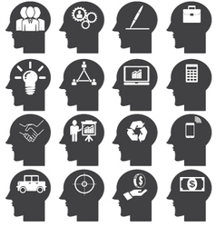 Business icons set in Head vector image