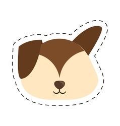 cartoon puppy dog big ears line dotted vector image vector image
