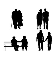 elderly couples silhouettes vector image vector image