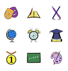 high education icons set cartoon style vector image vector image