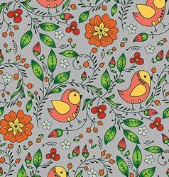 orange bird plant and flower on gray background vector image